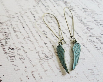Patina blue wing earrings, kidney wire, feather / wing jewelry, Learn To Fly