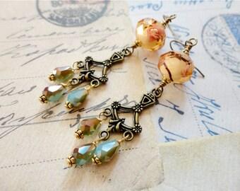 Romantic summer jewel toned glass bead chandelier earrings, peach, pink, bronze, pale blue, Iced Tea and Lemons