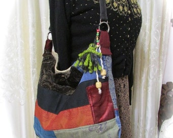 Patchwork Bag Hippie Bag handmade fabric bag granny bag, hippie patchwork bag, granny patchwork