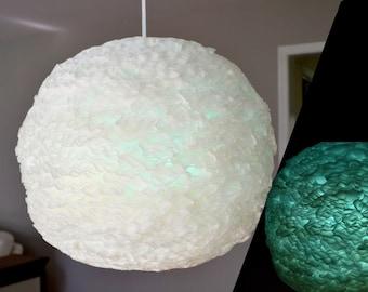 White / Blue Teal Green Spherical Ruffled Paper Pendant Light
