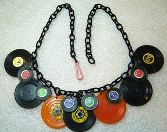 Vintage plastic records upon new fabric chain necklace