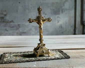 Vintage Metal Ornage Crucifix