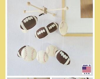 Baby Crib Mobile, Baseball Mobile, Football Mobile, Sports Nursery Mobile, Baby Boy Mobile, Baby Shower Gift, Brown and ivory