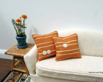Orange dots and stripes pillows - set of two - dollhouse miniature