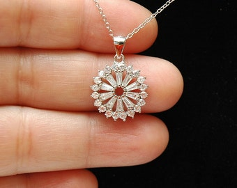 Art Deco CZ Necklace,  Sterling Silver Cz Diamond Necklace, Solitaire Charm Necklace, Bridal Necklace, Gifts For Her, Ayansi