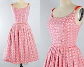 Vintage 50s Cotton Dress / 1950s RED GINGHAM Sundress / Plaid Checks Floral EMBROIDERED Sleeveless Full Skirt Garden Picnic Party M Medium