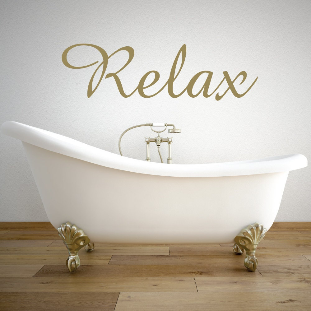 relax wall decal relax sign bathroom decor bathroom wall