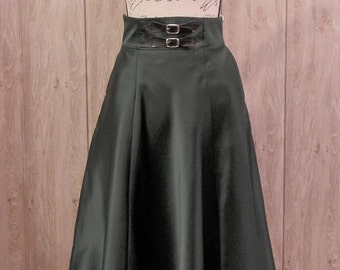 Green Satin  Six-Panel Skirt,  Pin Up Rockabilly