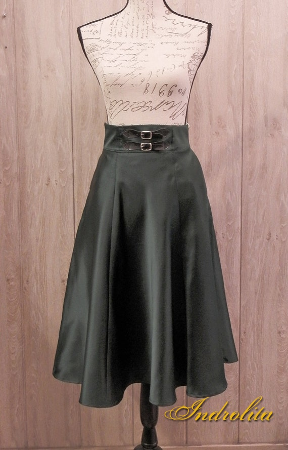 Green Satin  Six-Panel Skirt