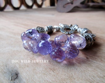 Handcrafted Artisan Amethyst Gemstone Bali Silver Bracelet for Women