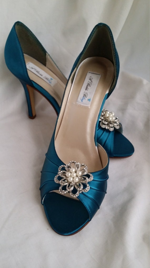 wedding shoes teal bridal shoes with sparkling crystal and pearl