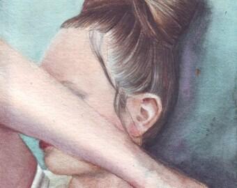 HM074 Original watercolor Hair Portrait painting art by Helga McLeod