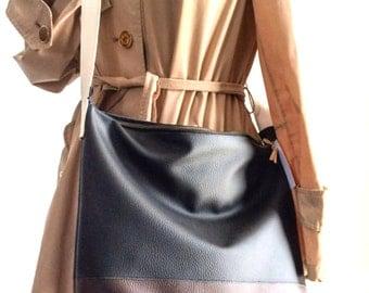 Messenger black vegan bag / Large shoulder bag / faux leather crossbody bag / Animal free shoulder bag / Large messenger bag / Fall Winter