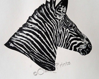 Zebra Art Print Limited Edition Hand-Pulled Collograph
