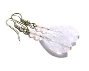 Rose Quartz Stone Earrings, Women, Teen, Pink, Ready To Ship