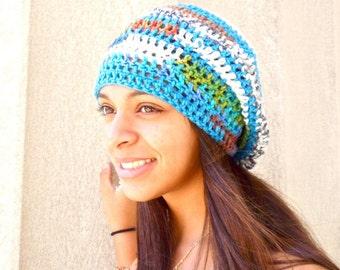 Crochet Slouchy Hat, Tam, Hippie, Women, Men, Teen, Multicolor, Tam, White, Turquoise,