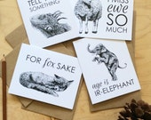 greeting cards set: just for fun cards, everyday cards, occasion cards, animal cards, fox, giraffe, elephant, lion