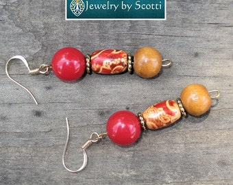 Red Tan Wood Earrings with 14K Gold Plated Hooks, Painted Wood Beaded Earrings, Folk Style Jewelry, Boho Earrings, Tribal Earrings, For Her