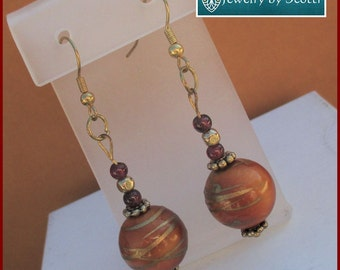 Large Honey Gold Earrings with Metallic Gold, Hypoallergenic Nickelfree, Large Globe Earrings, Red Violet, Matching Necklace Available
