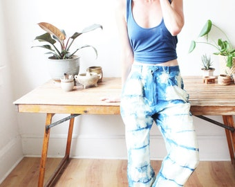 vintage indigo dyed high waisted linen pants