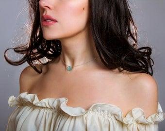 Aqua Chalcedony Necklace, Rose Gold Necklace, Minimalist Gemstone Necklace, Aqua Gemstone Pendant, Gemstone Solitaire Necklace