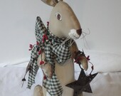 Primitive Rabbit Standing Bunny Cloth Art doll with star