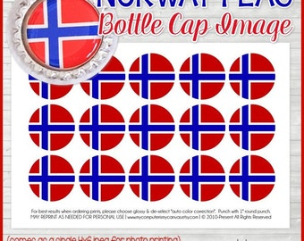 Norway FLAG Bottle Cap Image, Norwegian Flag Printable, Inchie, 1-Inch Circle, Digital Collage, World Flags - Printable Instant Download