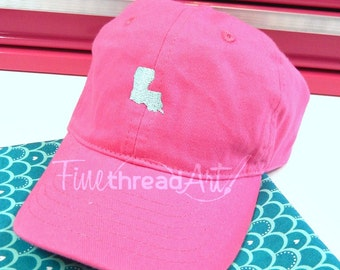 KIDS Mini State Baseball Cap Hat Fabric Strap Metal Buckle Youth Preppy Ball Cap Child Size Mint Hot Pink Navy Louisiana Texas Alabama