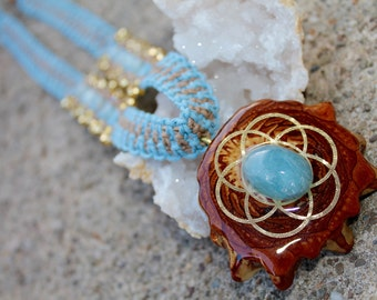 Third Eye Pinecone necklace with gold seed of life and aquamarine, hemp jewelry, hippie, natural, sacred geometry