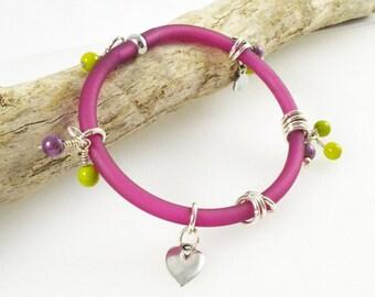 Shocking Pink Bangle, Bright Pink Bangle, Unusual Charm Bracelet, Australian Jewellery, Unique Charm Bracelet, Jewellery made in Australia