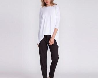 Women's top, white shirt, asymmetrical, over sized tunic, loose fit, plus size tunic, Oversized Dolman shirt, Crew Neck, white tunic, blouse