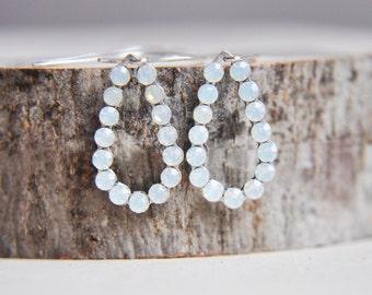 Opal Earrings, Silver Opal Earrings, Opalite Earrings, October Birthstone,Teardrop Earrings,Small Earrings,Everyday Earrings,Winter Earrings