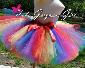 Adult Rainbow Tutu...Newborn, toddler, Girls Rainbow Circus Tutu, Halloween Rainbow Clown Tutu, Color Fun Run Tutu . . . RAINBOW FUN