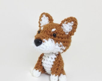 Handmade Amigurumi Dog Crochet Puppy Stuffed Animal Doll Brown Shiba Plush  / Made to Order
