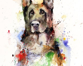 GERMAN SHEPHERD Watercolor Print by Dean Crouser