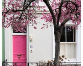 Cherry Blossoms, Notting Hill, pink door photo, London, Spring, quaint dreamy English floral 11x14, 16x20, 24x30 Original SIgned Photograph