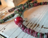 Ruby Necklace Ruby Beaded Necklace Emerald Necklace Emerald Beaded Necklace Off Center Necklace Artisan Necklace Unique Necklace Sapphire