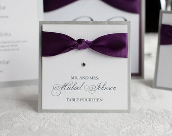 Square Placecards - Tented Wedding Placecards - Table Seating Card - Escort Cards - Table Placecard - Printed Placecards - Ribbon Placecards