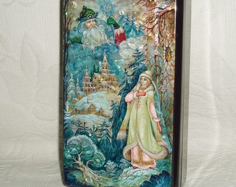 """Russian Lacquer box Kholui """" Snow Maiden and Father Frost """" Hand Painted"""