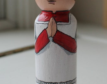 "Altar Boy Peg Doll 3 1/2"" Large Size Red Cassock"