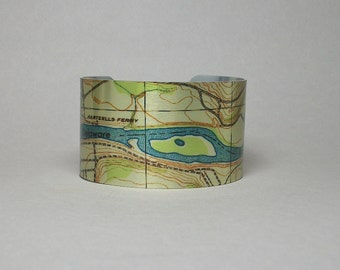 Delaware River New Jersey Pennsylvania Map Cuff Bracelet Unique Gift for Men or Women