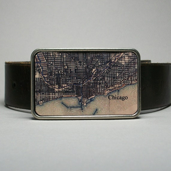 Belt Buckle Vintage Map Chicago Illinois Unique Gift for Men or Women