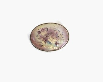 Vintage Floral BROOCH / Antique Hand Painted Floral Mother of Pearl Shell Pin