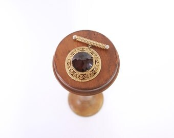 Vintage 60s BROOCH / 1960s Oversized Domed Purple Amethyst Rhinestone Gold Dangle Pin