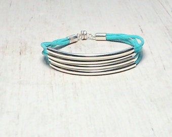 Silver Tube Bracelet - MultiStrand  Bracelet - Tube Bracelet - Bangle Bracelet - Bridesmaid Bracelets - Teal Tube Bracelet