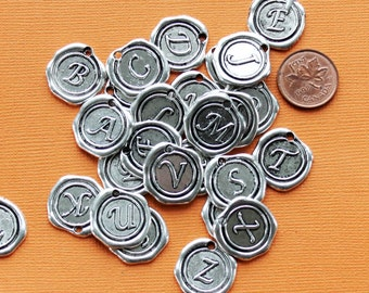 6 Alphabet Letter Charms Antique Silver Tone Choose Your Initial Wax Seal Design