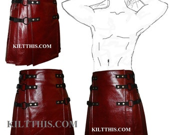 Interchangeable Red Leather Kilt Handmade Custom Fit Adjustable with Inside pockets