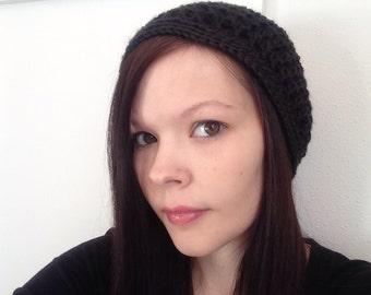 Black Crochet Slouchy Hat Fits Teen to Women, Ready To ship, crochet hat, fall hat, slouch hat