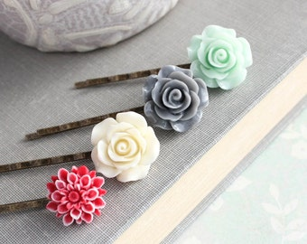 Flower Bobby Pins, Floral Hair Clips, Hair Accessories, Mint Rose Barrette, Red Chrysanthemum, Grey Rose Bobbies, Flowers Girl Gift set of 4
