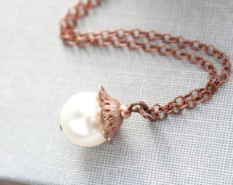 Pearl Drop Necklace Ivory Cream Pearl Pendant Antiqued Rose Gold Copper Filigree Nickel Free Bridesmaids Gift for Women Vintage Inspired